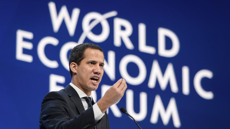 23.jan.2020 - O líder de oposição venezuelano Juan Guaidó participa do Fórum Econômico Mundial, em Davos (Suíça) - Fabrice Coffrini/AFP