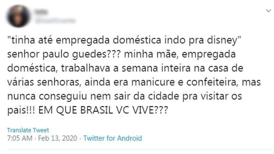 """""""Em que Brasil você vive?"""", pergunta filha de empregada doméstica - Twitter"""