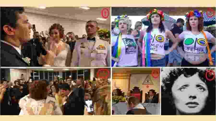 """Carla Zambelli e seu marido (1), no casamento ocorrido no dia 14 deste mês, ouvem Moro dizer que a parlamentar mereceria uma caveira como distinção. Em 2012 (2), Carla e outras militantes com a camiseta do grupo Femen: em busca de uma causa. Moro e sua """"conja"""" (3) dançam com os noivos """"La Vie en Rose"""" na versão """"caveira"""". Weintraub (4), à esquerda na foto, era um dos presentes. E Édith Piaf (5), coitada!"""", a espancada da noite - reproduções"""