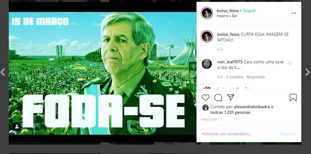 """Página no Instagram ligada ao gabinete de Eduardo Bolsonaro publicou fotografia endossando o general Augusto Heleno, ministro do Gabinete de Segurança Institucional que chamou o Congresso de """"chantagista"""" - Reprodução"""