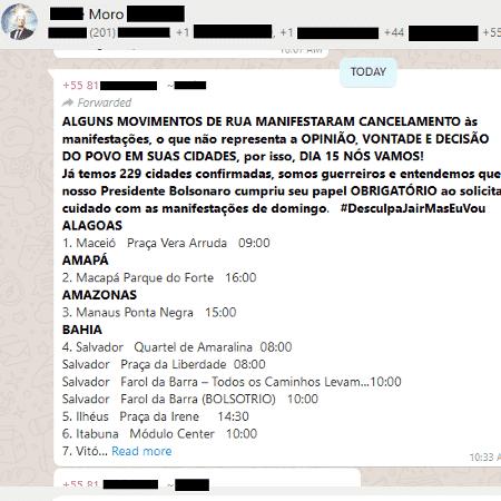 13.mar.2020 - Mensagem distribuída em grupos bolsonaristas lista cidades onde vai ocorrer protestos mesmo depois de o presidente desaconselhar manifestações por causa do coronavírus. Eles usam a hashtag #DesculpaJairMasEuVou - Reprodução - Reprodução