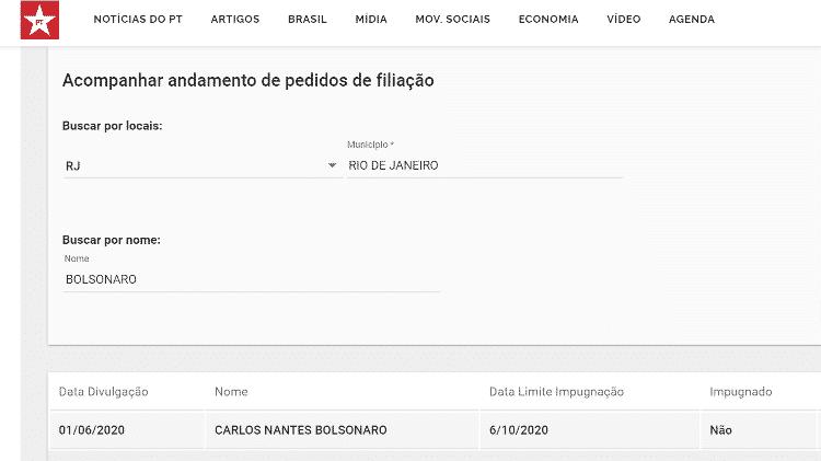 Pedido de filiação no PT registrado no nome de Carlos Bolsonaro - Reprodução/PT - Reprodução/PT