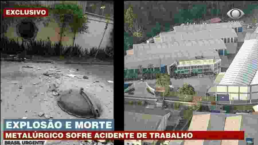 Metalúrgico é atingido por tampa de autoclave na Zona Leste de São Paulo - Reprodução/Band