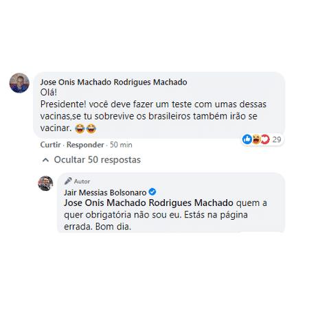 Jair Bolsonaro não quer que vacina seja obrigatória - Reprodução - Reprodução