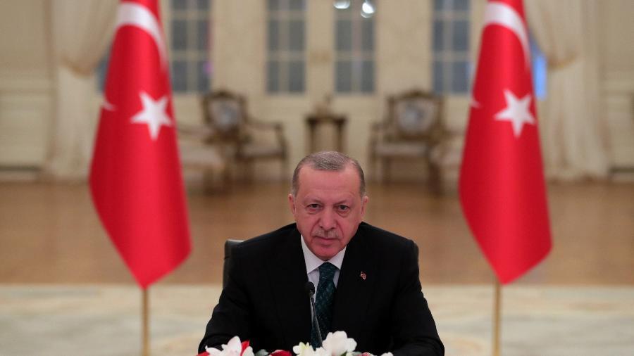 "Erdogan acusa Biden de ter ""sangue nas mãos"" por apoio a Israel - Presidência da Turquia/Reuters"