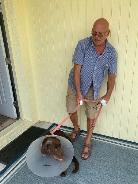 Dono e cão ficaram apenas com ferimentos leves - Reprodução/Twitter