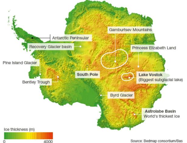 Mapa ilustra região onde um desconhecido sistema de cânions pode estar na Antártida