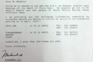 A carta foi datilografada por um assistente no hotel de Ali, que soletrou seu nome incorretamente