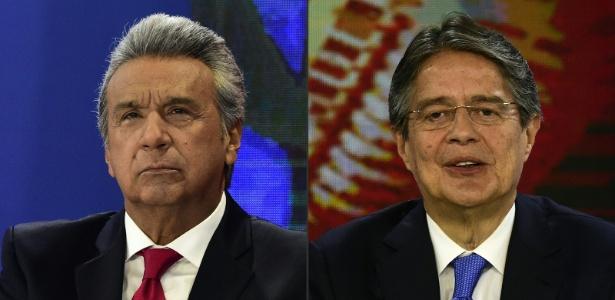Os candidatos à Presidência do Equador Lenín Moreno e Guillermo Lasso