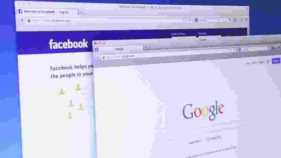Páginas iniciais do Facebook e do Google; práticas das empresas viraram alvo da justiça - iStock