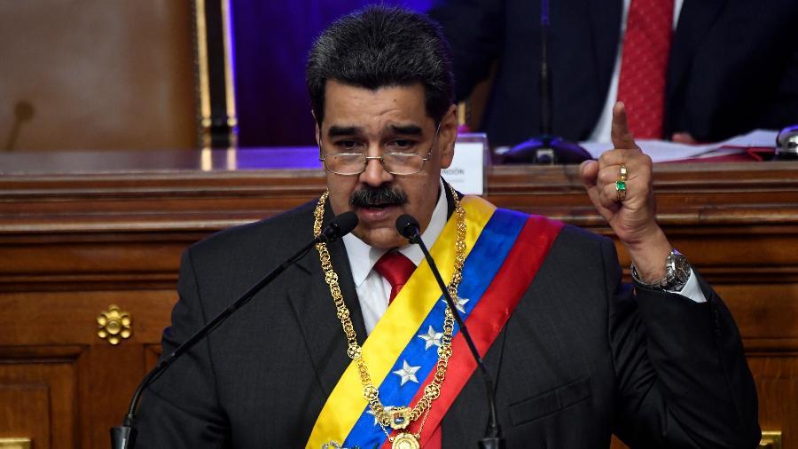 14.jan.2020 - O presidente da Venezuela, Nicolás Maduro, durante discurso na Assembleia Constituinte, em Caracas - Federico Parra/AFP