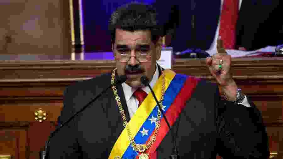 O presidente da Venezuela, Nicolás Maduro, durante discurso na Assembleia Constituinte, em Caracas - Federico Parra/AFP
