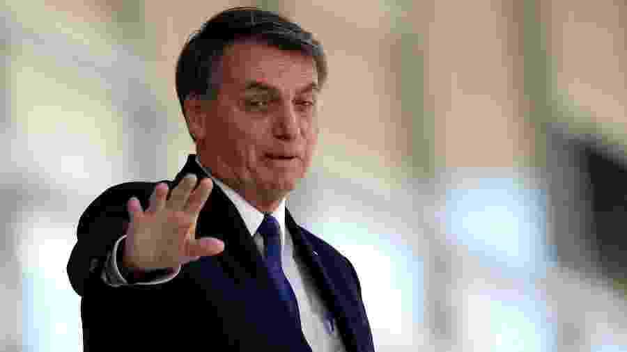 Presidente Jair Bolsonaro na rampa do Palácio do Planalto -