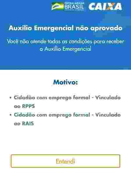 Auxílio emergencial negado Rais emprego - Reproução/App Auxílio Emergencial - Reproução/App Auxílio Emergencial
