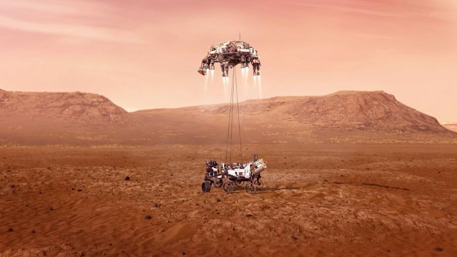 Ilustração do rover Perseverance descendo em Marte em ilustração feita pela Nasa - Nasa