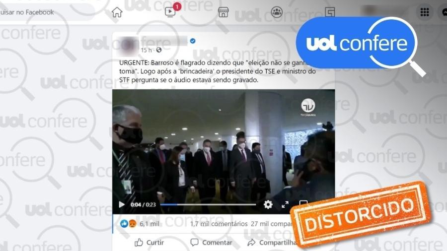 11.ago.2021 - Exemplo de post que distorce declaração do ministro Luís Roberto Barroso sobre eleições em Roraima - Arte sobre Reprodução/Facebook