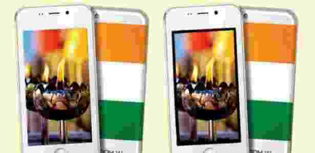 """18.fev.2016 - Smartphone indiano Freedom 251, considerado o """"celular mais barato do mundo"""" - Reprodução/BGR"""