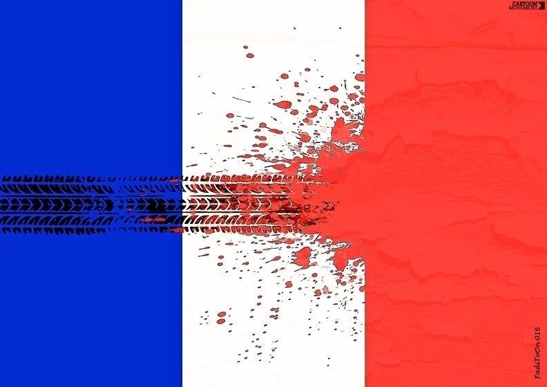 15.jul.2016 - Um pneu atravessa a bandeira francesa após as mortes de Nice nesta interpretação de um cartunista