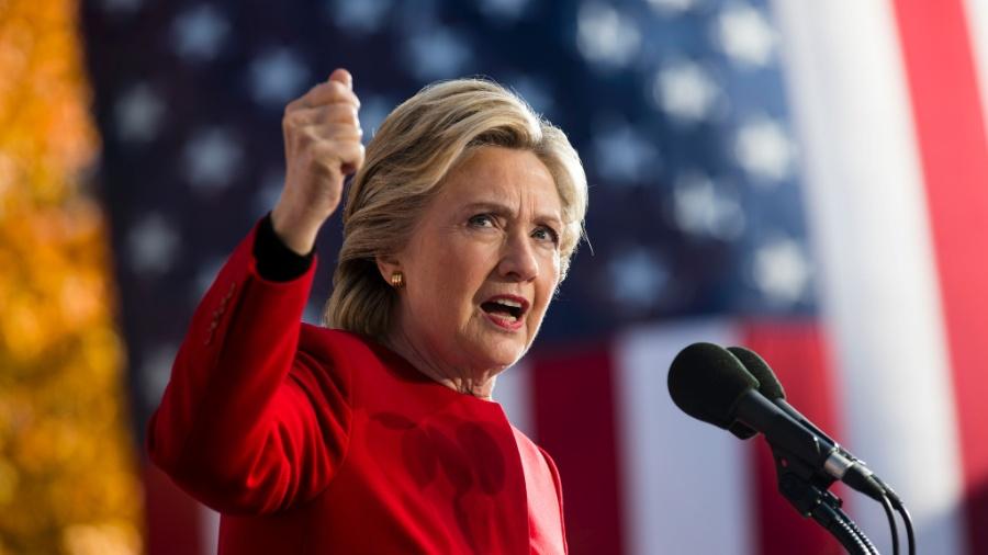 Hillary Clinton em campanha à presidência dos Estados Unidos em Pittsburgh  - Doug Mills/The New York Times