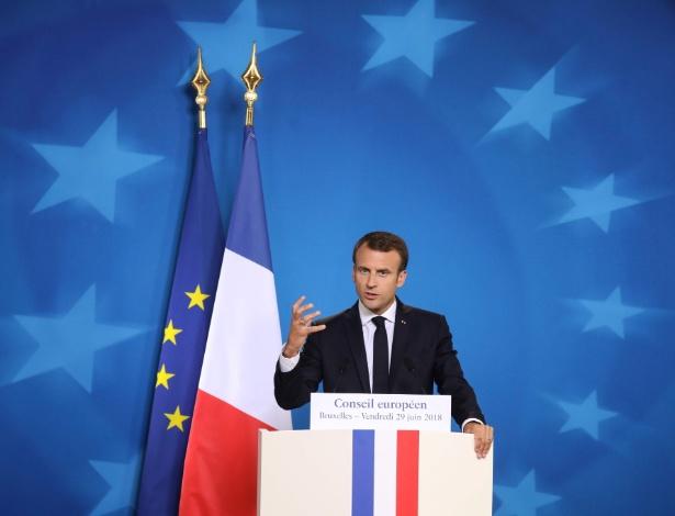 29.jun.2018 - Presidente da França Emmanuel Macron durante encontro da União Europeia em Bruxelas - AFP PHOTO / Ludovic MARIN