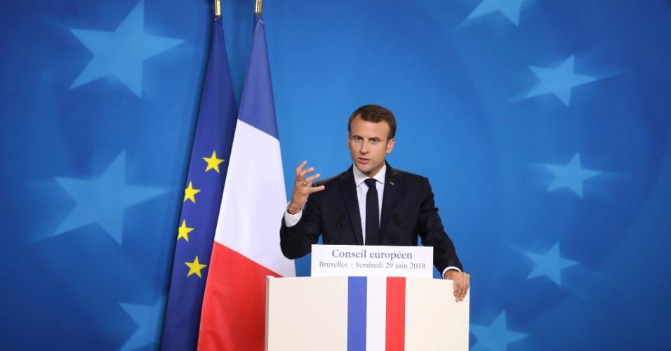 29.jun.2018 - Presidente da França Emmanuel Macron durante encontro da União Europeia em Bruxelas