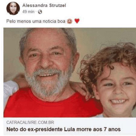 Lula acionou a blogueira Alessandra Strutzel na justiça por posts sobre morte do neto - Reprodução/Facebook