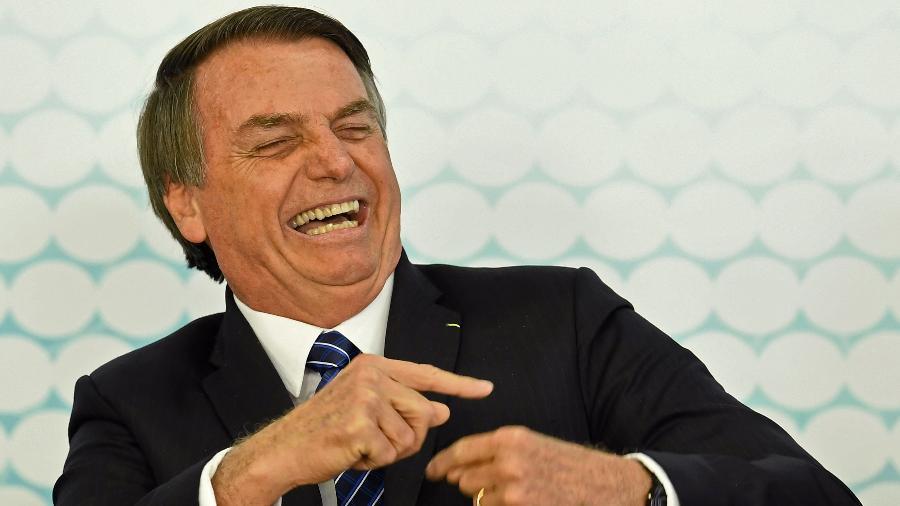 6.set.2019 - O presidente Jair Bolsonaro durante lançamento de carteira estudantil digital, no Palácio do Planalto - Evaristo Sá/AFP