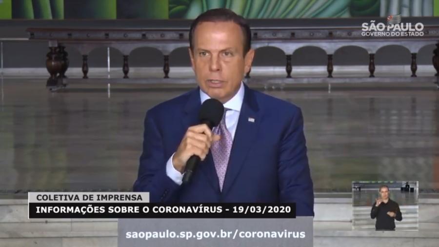 19.mar.2020 - O governador de São Paulo, João Doria, durante coletiva para falar de medidas de combate ao coronavírus - Reprodução/YouTube