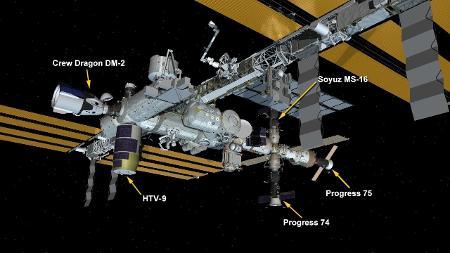 Cinco naves estão estacionadas na ISS - Divulgação/ISS