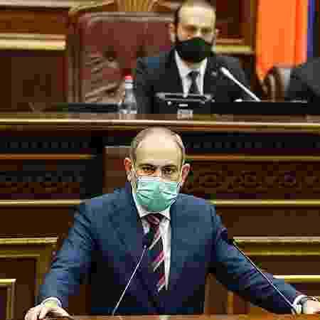 """27.set.2020 - O primeiro-ministro da Armênia Nikol Pashinyan - AFP/Press Service of  Armenia""""s government/ handout"""