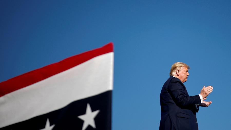 18.out.2020 - O presidente dos Estados Unidos, Donald Trump, durante evento de campanha em Carson City, Nevada - Carlos Barria/Reuters