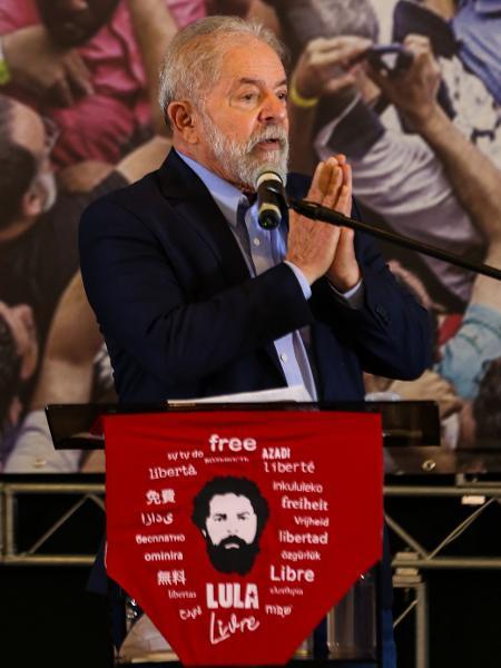 10.mar.2021 - O ex-presidente Luiz Inácio Lula da Silva (PT) em primeiro discurso após anulação de todas as suas condenações na Lava Jato - Marcelo D. Sants/Framephoto/Estadão Conteúdo