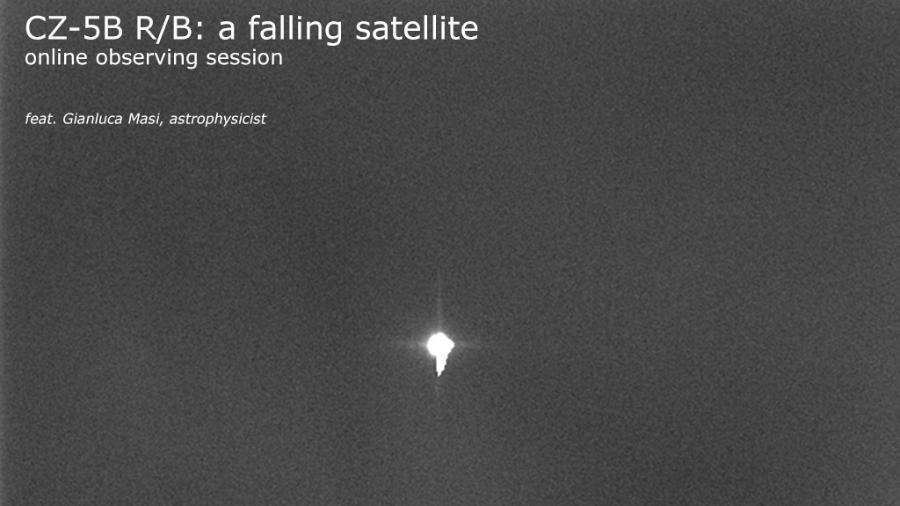 Imagem do Long March 5B captada pelo astrofísico italiano Gianluca Masi, um dos líderes do projeto Telescópio Virtual - Gianluca Masi/Virtual Telescope Project