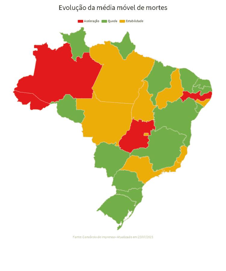 24.07.2021 -- Mapa da situação da covid-19 por estado - UOL - UOL