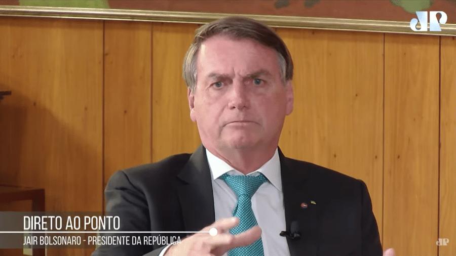 O presidente Jair Bolsonaro em entrevista à Jovem Pan - Reprodução/Youtube/JovemPan