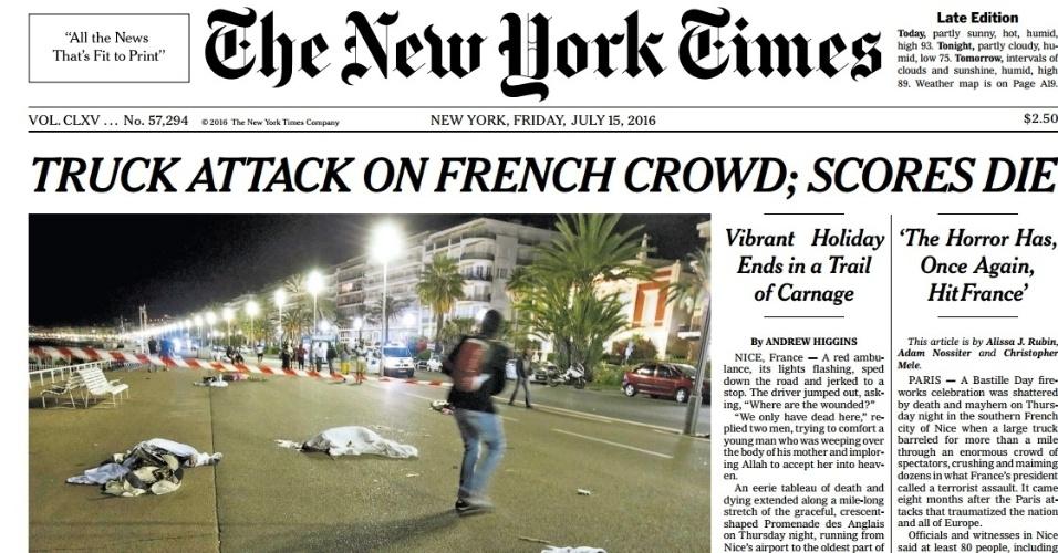 A imagem de corpos no chão na avenida turística de Nice tomou boa parte da capa da versão impressa do jornal New York Times