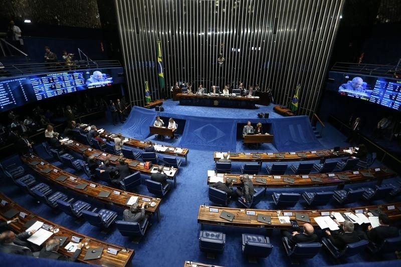 27.ago.2016 - Plenário do Senado fica esvaziado no terceiro dia do julgamento do processo de impeachment da presidente afastada, Dilma Rousseff, em Brasília