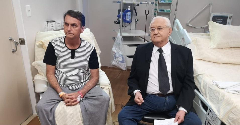 28.set.2018 - Às vésperas de ter alta, Jair Bolsonaro concedeu uma série de entrevistas, como ao jornalista Boris Casoy, da Rede TV!