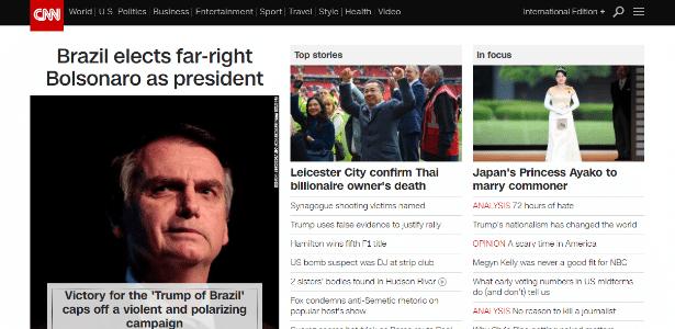 Página da rede CNN, por volta das 21h deste domingo (28)