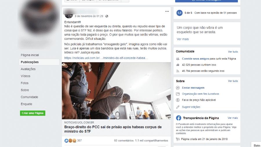 11.nov.2019 - Exemplo de post em que notícia antiga foi associada à decisão do STF que vetou a prisão em segunda instância - Reprodução/Facebook
