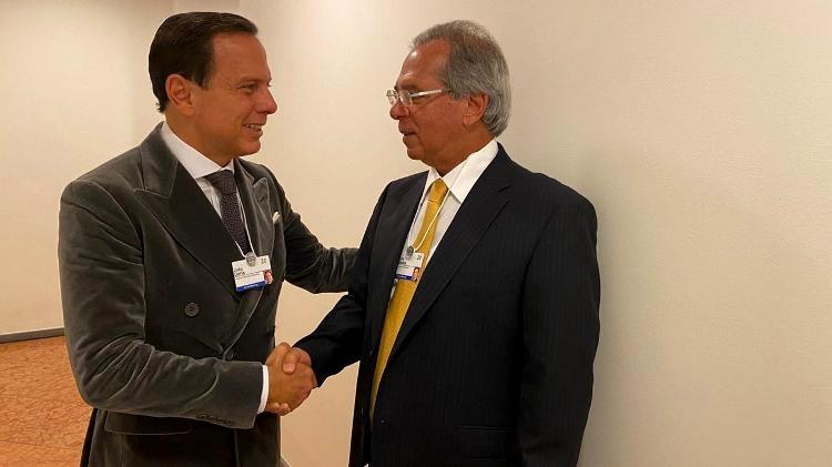 Doria e o ministro Paulo Guedes. Se Brasil tiver cuidado, cenário chileno não se repetirá, diz governador - Divulgação