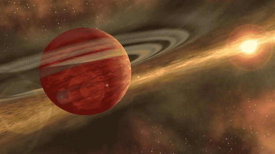 Arte do planeta 2MASS 1155-7919 b e sua estrela mãe - Reprodução/NASA/JPL-Caltech/R. Hurt