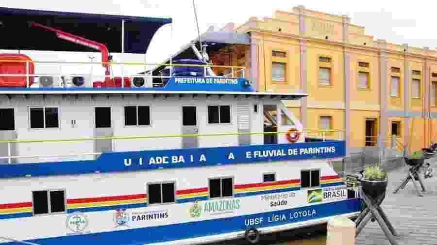 Prefeitura de Parintins colocou em funcionamento a Unidade Básica de Saúde Fluvialpara atendimentos na rampa do Mercado Central - Divulgação/Prefeitura de Parintins