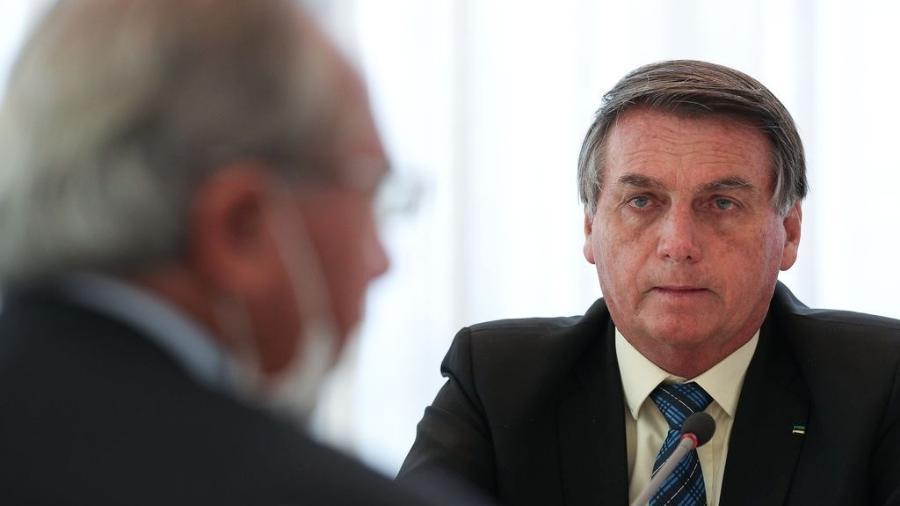 01.set.2020 - O ministro da Economia, Paulo Guedes e o presidente da República, Jair Bolsonaro - Marcos Corrêa/Presidência