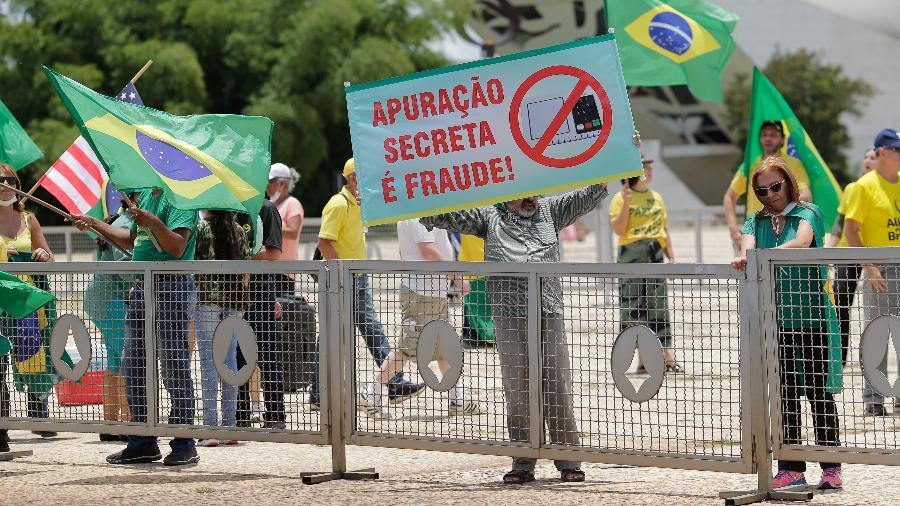 Grupos bolsonaristas realizaram diversos protestos a favor do voto impresso - Dida Sampaio/Estadão Conteúdo