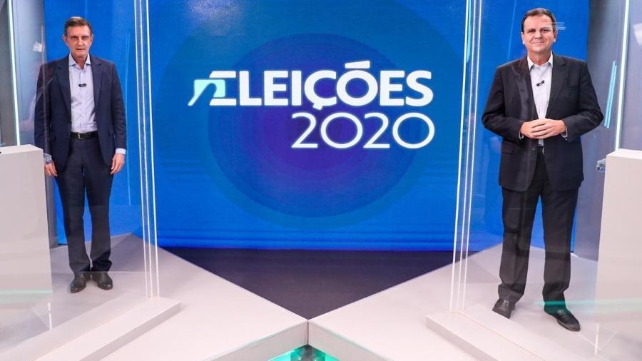 Eduardo Paes (DEM) e Marcelo Crivella (Republicanos) em debate na Globo - Reprodução