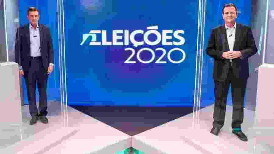 27.nov.2020 - Eduardo Paes (DEM) e Marcelo Crivella (Republicanos) em debate na TV Globo - Reprodução