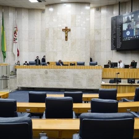 Vereadores durante sessão na Câmera de SP - Afonso Braga/Rede Câmara