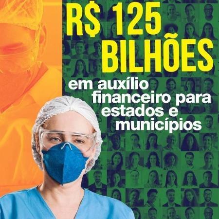 Propaganda do governo sobre os R$ 125 bilhões em auxílio para estados e municípios  - Documento enviado à CPI da Covid