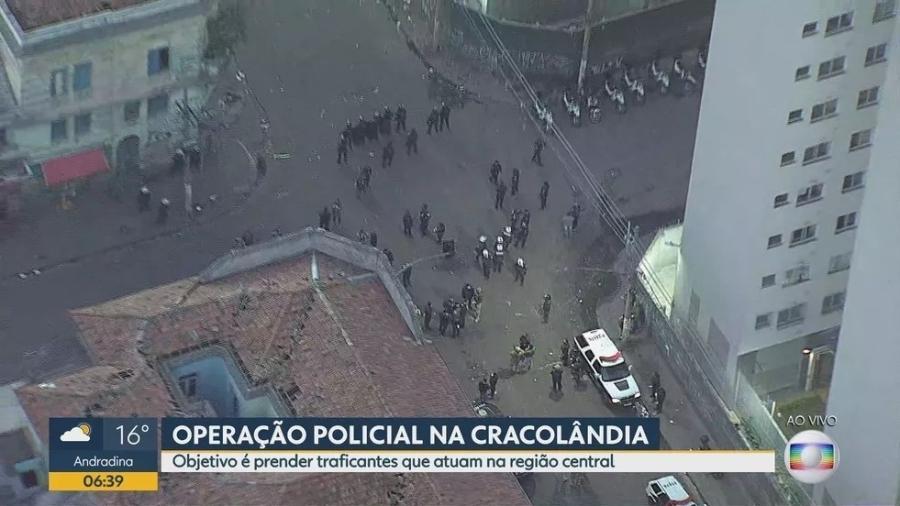 A operação cumpre 11 mandados de prisão e 14 de busca e apreensão na Cracolândia, na região central de SP - Reprodução/TV Globo